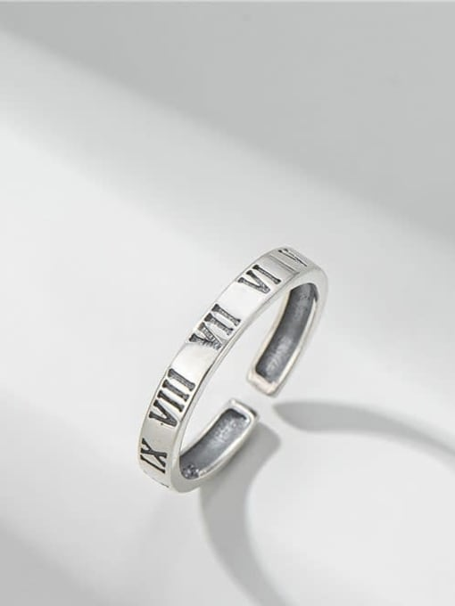 Roman numeral ring 925 Sterling Silver Irregular Vintage Band Ring