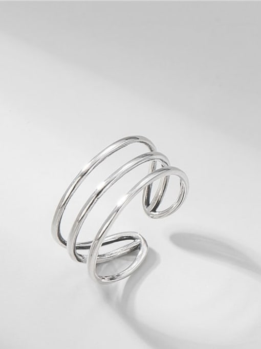Three ring line ring 925 Sterling Silver Irregular Minimalist Stackable Ring