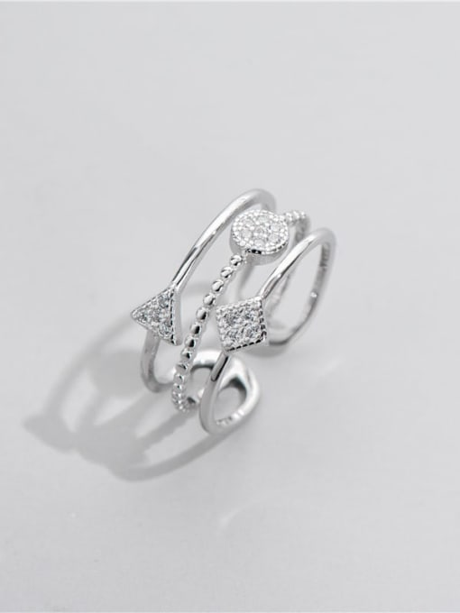 Geometric ring 925 Sterling Silver Cubic Zirconia Geometric Minimalist Stackable Ring