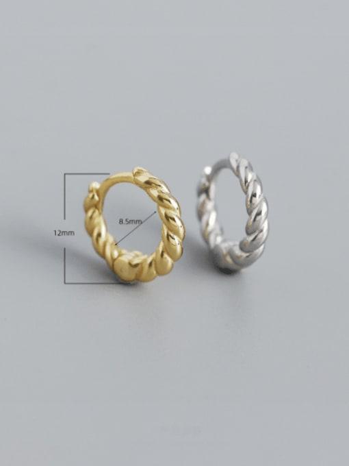ACEE 925 Sterling Silver Geometric Vintage Huggie Earring 2