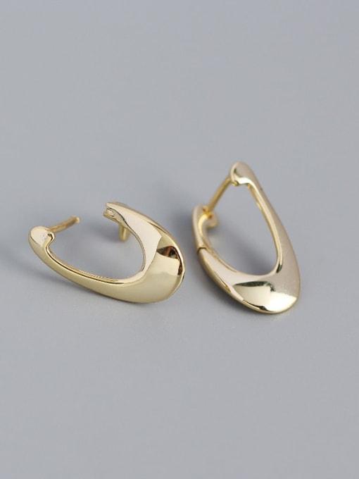 Golden 925 Sterling Silver Irregular Minimalist Huggie Earring