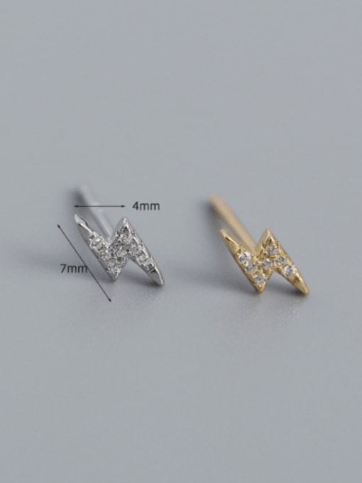 ACE 925 Sterling Silver Cubic Zirconia Irregular Minimalist Stud Earring 1