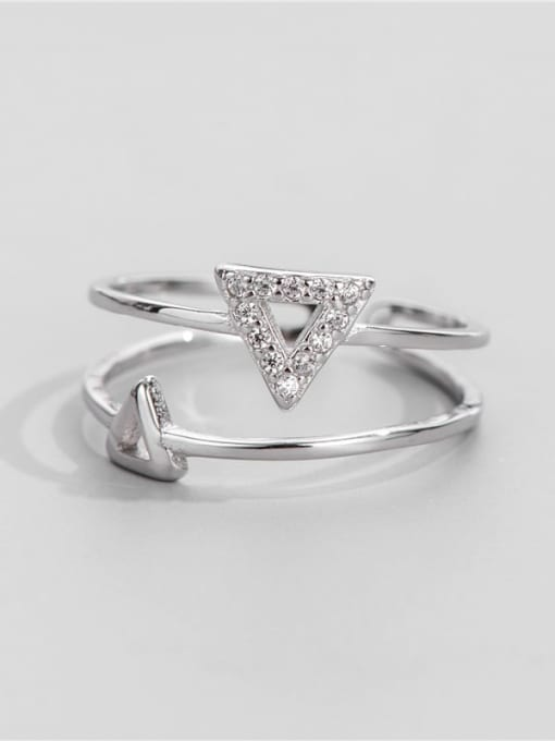 ARTTI 925 Sterling Silver Cubic Zirconia Triangle Minimalist Band Ring 0