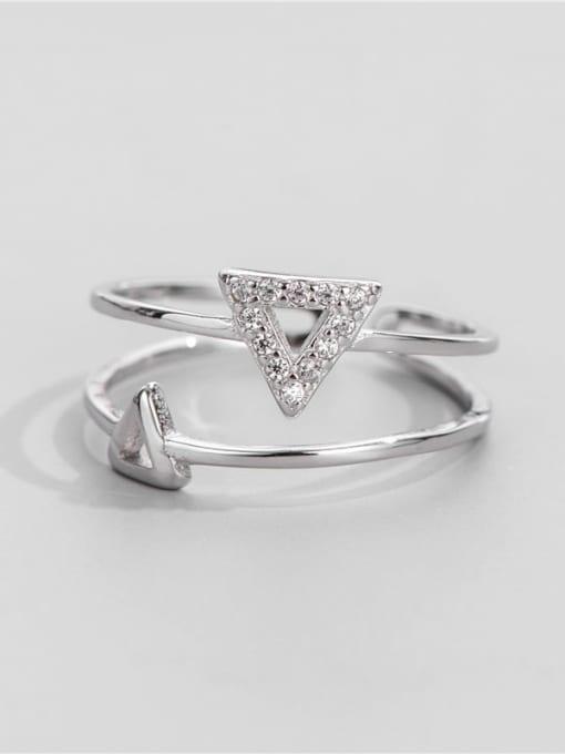 ARTTI 925 Sterling Silver Cubic Zirconia Triangle Minimalist Band Ring