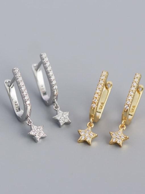 ACE 925 Sterling Silver Cubic Zirconia Star Minimalist Huggie Earring