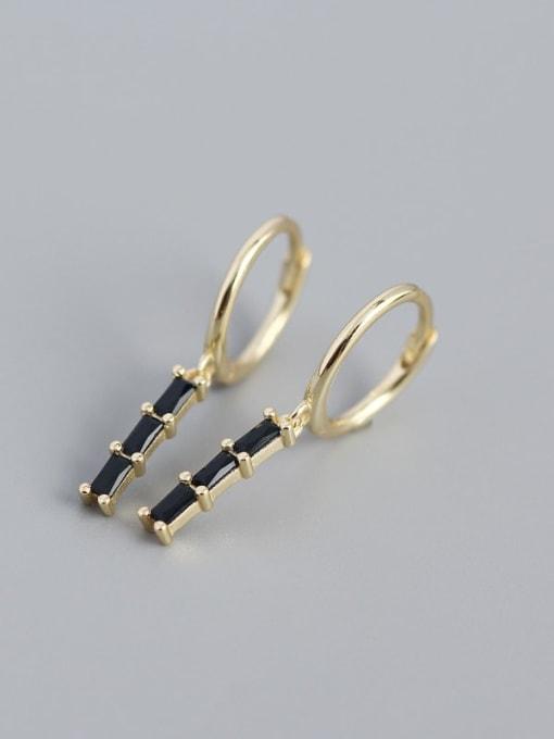 Golden black stone 925 Sterling Silver Cubic Zirconia Geometric Vintage Huggie Earring