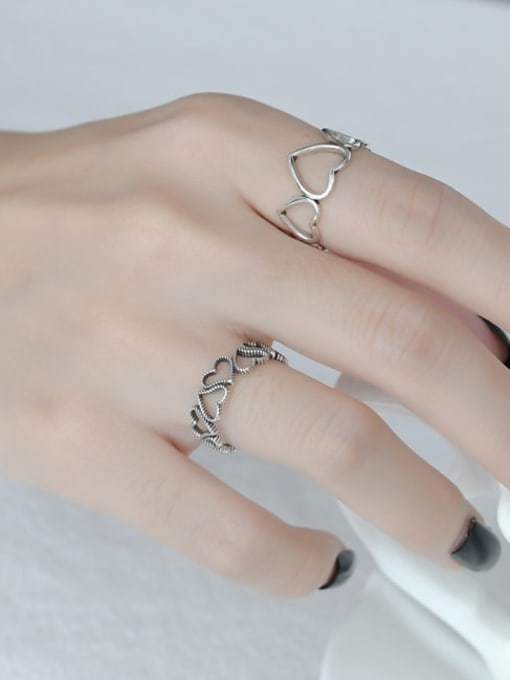 ARTTI 925 Sterling Silver Hollow Heart Vintage Band Ring 1