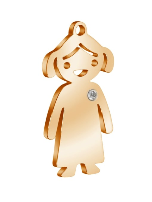 Girl - rose gold Color 304L Steel Boy or Girl Pendant, Width:14mm,Height:25mm