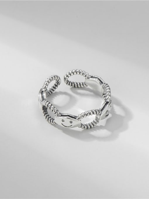 ARTTI 925 Sterling Silver Hollow Geometric Smiley Vintage Band Ring 3
