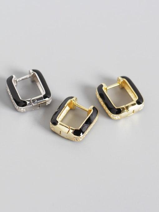 ACE 925 Sterling Silver Cubic Zirconia Geometric Artisan Stud Earring