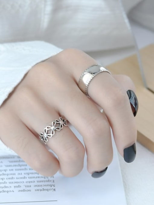 ARTTI 925 Sterling Silver Smooth Geometric Vintage Band Ring 1