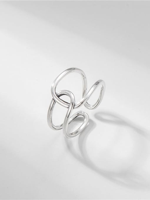 Line twin ring 925 Sterling Silver Geometric Vintage Band Ring