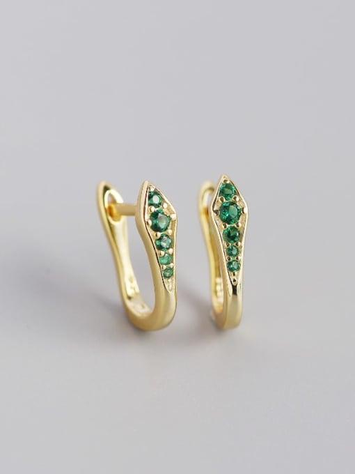 Golden green stone 925 Sterling Silver Cubic Zirconia Geometric Artisan Huggie Earring