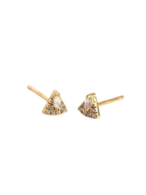 ACE 925 Sterling Silver Cubic Zirconia Triangle Vintage Stud Earring 4