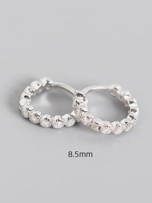 8.5mm Platinum White Stone 925 Sterling Silver Cubic Zirconia Geometric Minimalist Huggie Earring