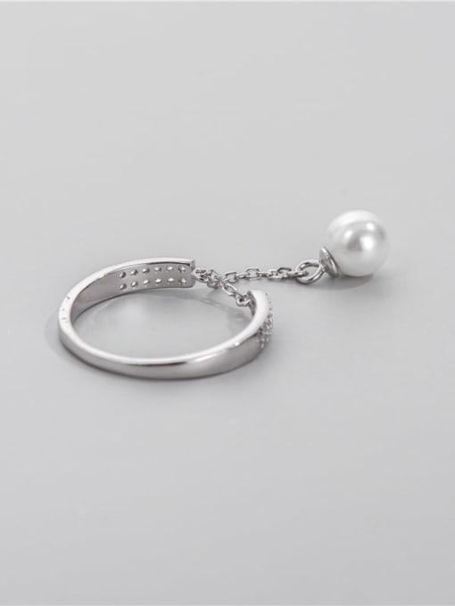 ARTTI 925 Sterling Silver Imitation Pearl Tassel Vintage Band Ring 1