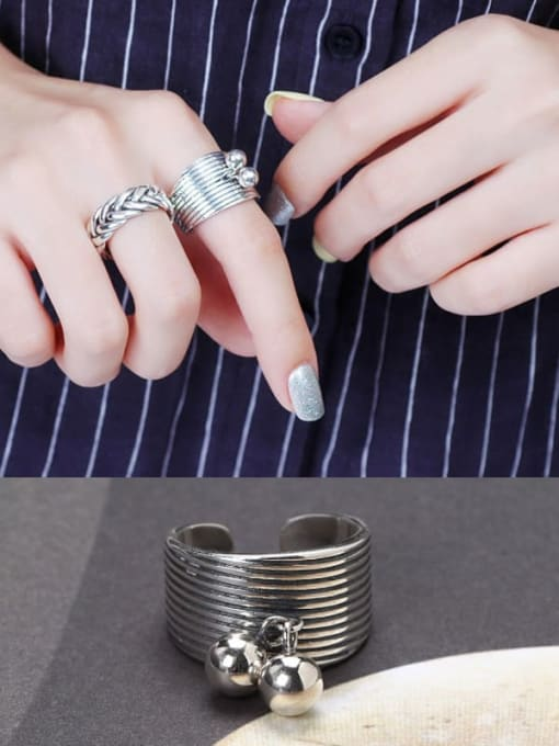 ACE 925 Sterling Silver Ball Trend Stackable Ring 1