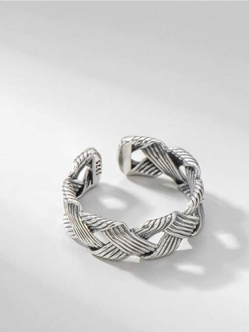 ARTTI 925 Sterling Silver Geometric Vintage Midi Ring 0