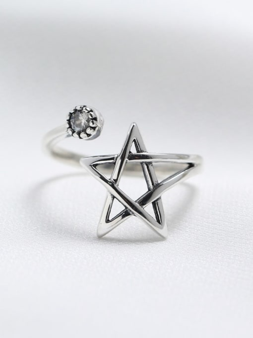 ACE 925 Sterling Silver Star Vintage Spoon Ring 0