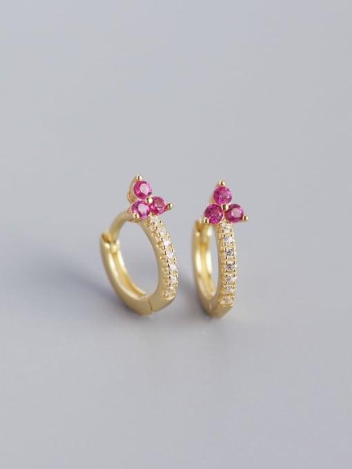 Golden red stone 925 Sterling Silver Cubic Zirconia Flower Dainty Huggie Earring