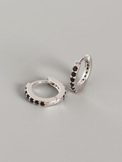 3#Platinum (black diamond) 925 Sterling Silver Cubic Zirconia White Geometric Dainty Huggie Earring