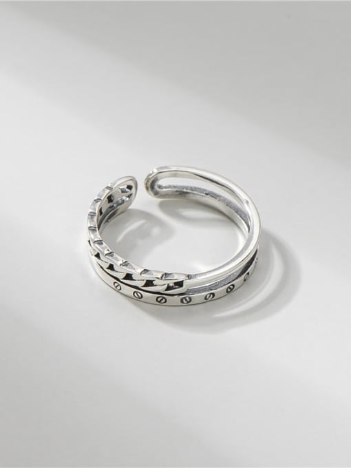 ARTTI 925 Sterling Silver Geometric Vintage Stackable Ring 2