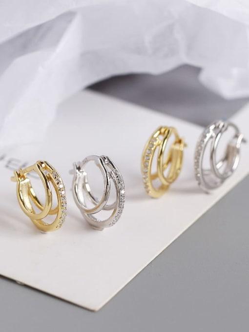 ACE 925 Sterling Silver Cubic Zirconia Geometric Artisan Huggie Earring 2