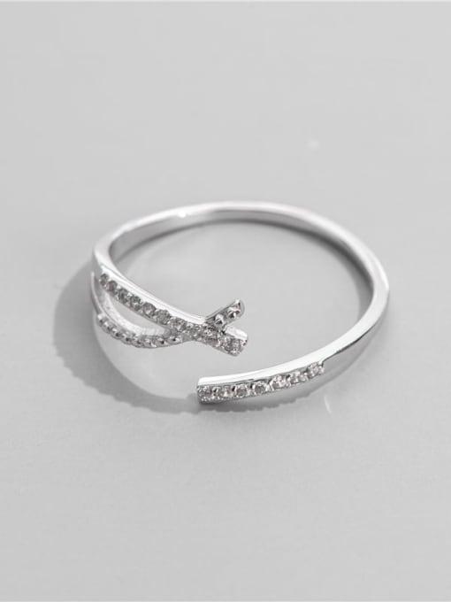 ARTTI 925 Sterling Silver Cubic Zirconia Irregular Minimalist Band Ring 2