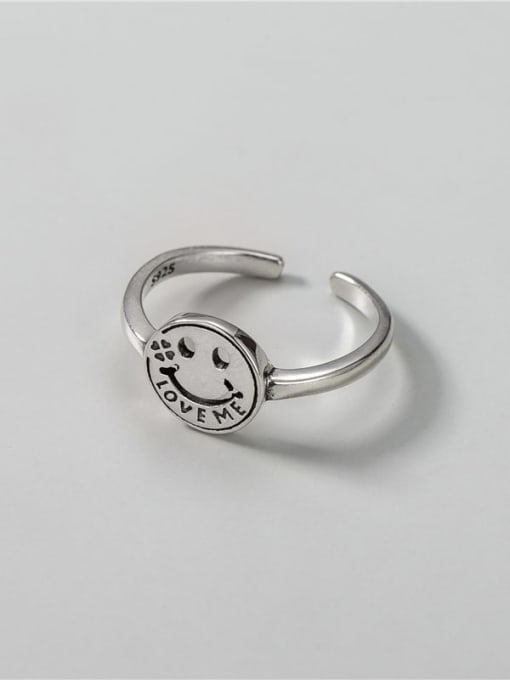 ARTTI 925 Sterling Silver Smiley Vintage Band Ring