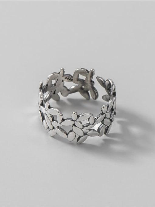 Broad leaf ring 925 Sterling Silver Flower Vintage Band Ring