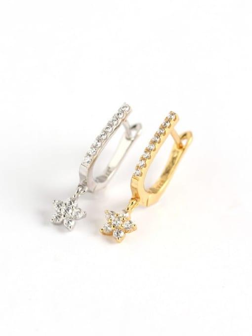 ACE 925 Sterling Silver Cubic Zirconia Geometric Minimalist Stud Earring 3