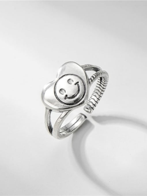 Love necklace ring 925 Sterling Silver Smiley Vintage Stackable Ring