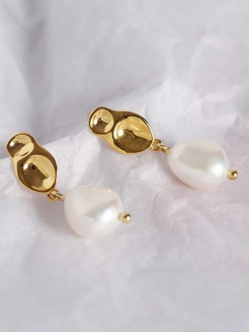 ACE 925 Sterling Silver Freshwater Pearl Geometric Minimalist Drop Earring 0