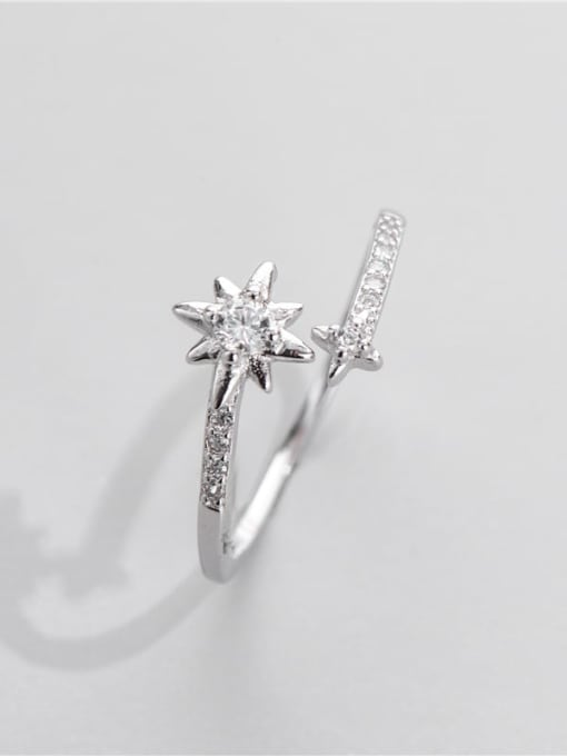 ARTTI 925 Sterling Silver Cubic Zirconia Star Vintage Band Ring 2