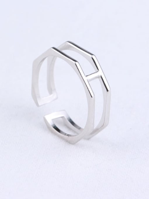 ACE 925 Sterling Silver Geometric Minimalist Stackable Ring 0