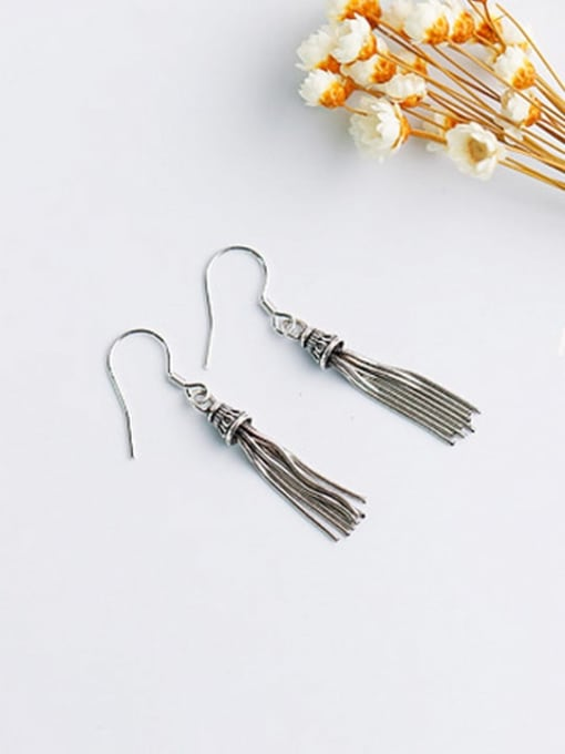 ACE 925 Sterling Silver Tassel Vintage Hook Earring 0