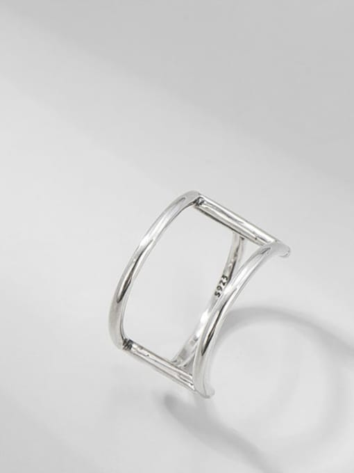 Double layer line ring 925 Sterling Silver Geometric Vintage Double Layer Line   Band Ring