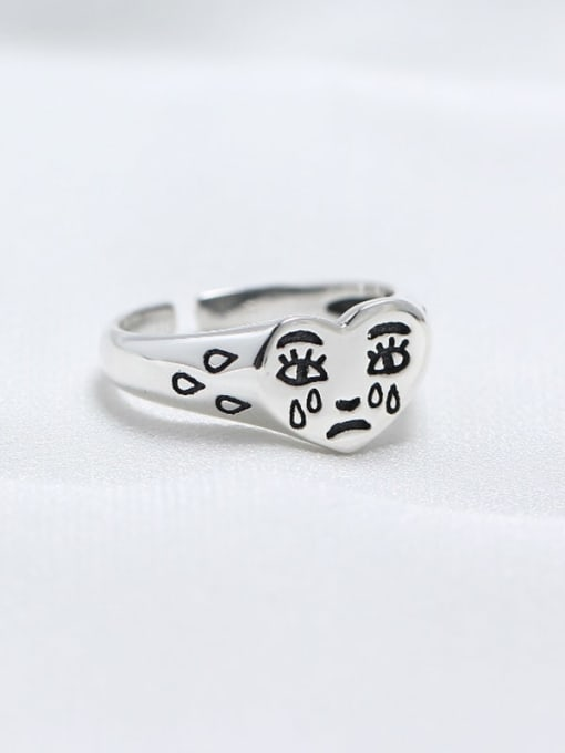 ACE 925 Sterling Silver Heart Funny Trend Band Ring 0