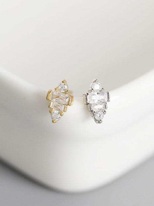 ACE 925 Sterling Silver Cubic Zirconia Geometric Artisan Stud Earring 1