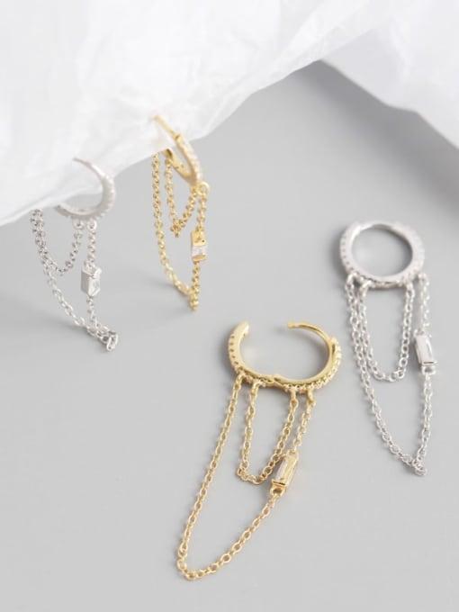 ACE 925 Sterling Silver Tassel Chain Minimalist Huggie Earring 3