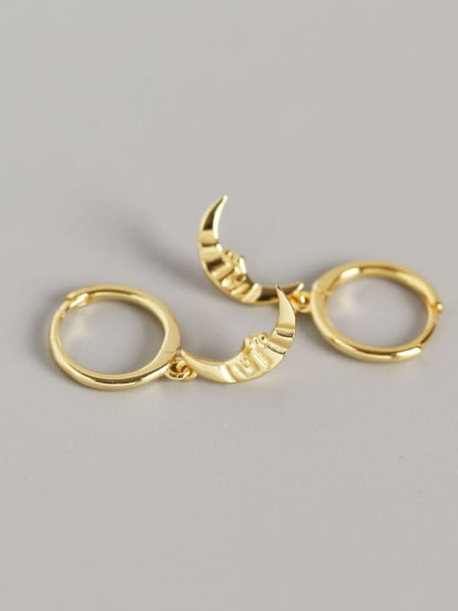2#Gold 925 Sterling Silver Moon Trend Huggie Earring