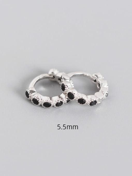 5.5mm platinum black stone 925 Sterling Silver Cubic Zirconia Geometric Minimalist Huggie Earring
