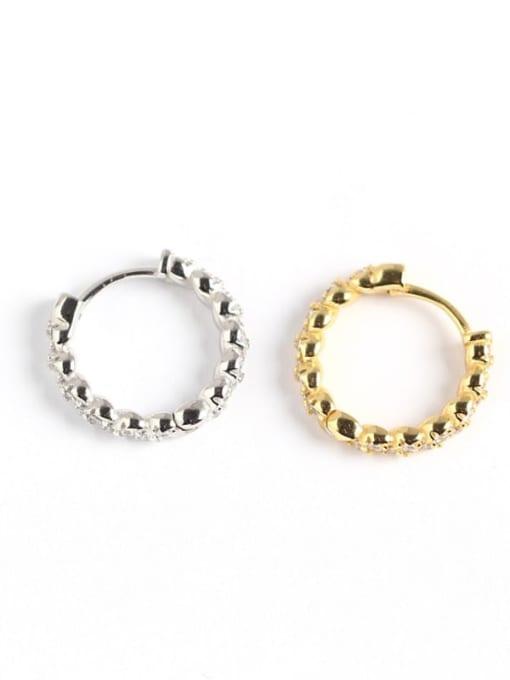 ACE 925 Sterling Silver Rhinestone White Irregular Minimalist Huggie Earring 1