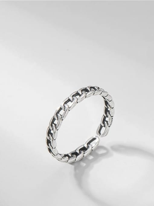 Ring clasp ring 925 Sterling Silver Geometric Vintage Band Ring