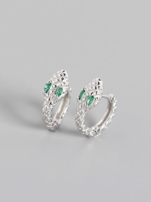 White gold green stone 925 Sterling Silver Cubic Zirconia Snake Vintage Huggie Earring