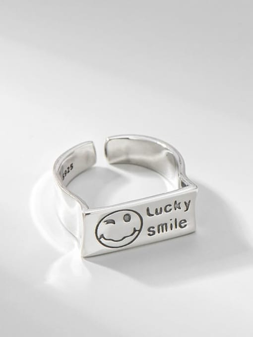 Smiling face ring 925 Sterling Silver Geometric Vintage Band Ring