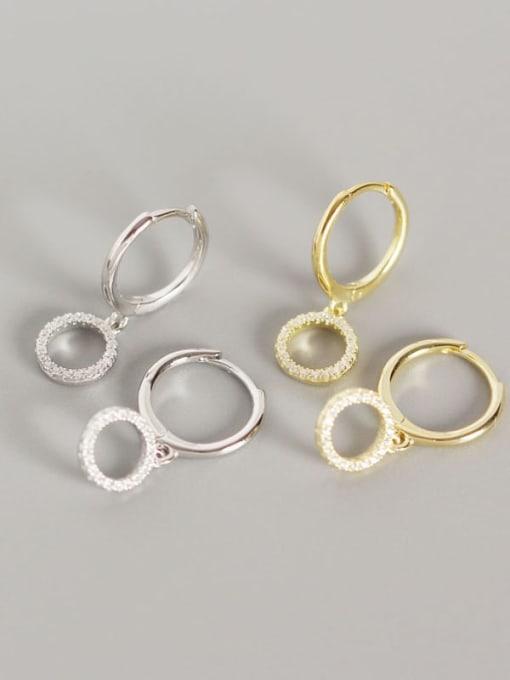 ACE 925 Sterling Silver Cubic Zirconia Geometric Vintage Huggie Earring 0