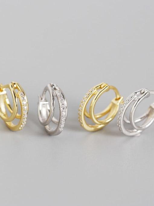 ACE 925 Sterling Silver Cubic Zirconia Geometric Artisan Huggie Earring 4