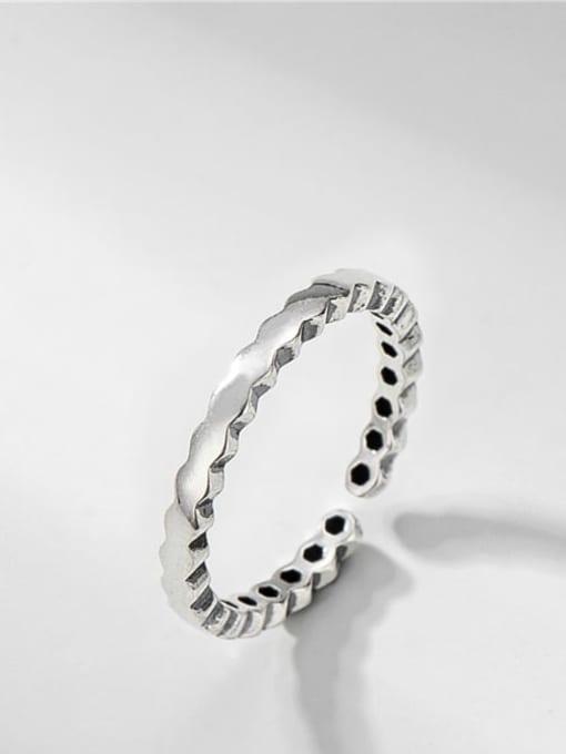 Diamond ring 925 Sterling Silver Geometric Vintage Band Ring