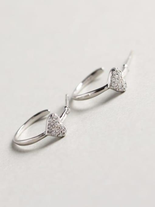 ACE 925 Sterling Silver Rhinestone White Heart Dainty Cluster Earring 0